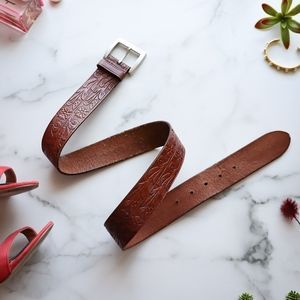 LAUREN RALPH LAUREN embossed leather belt brown